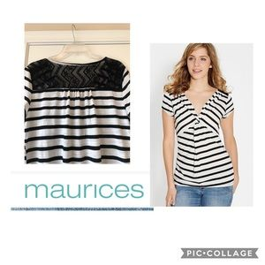 Maurices Striped Twist Front Tee w/h Lace Back
